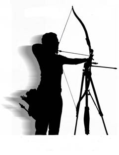 Black Silouette on white background. Visually impaired archer shooting her bow. Shades of gray shaddowing gives the silhouette depth.